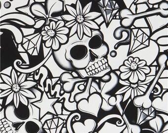 219531 black off-white bone skull fabric Alexander Henry USA