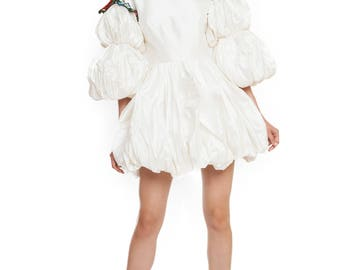 Mini taffeta dress with handmade embroidery