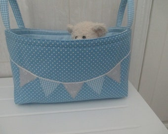 Storage pouch/nappy storage/bedroom storage/hair accessories/nursery storage/ladies gift. Blue polka dot storage with handles