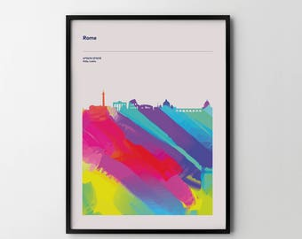 ROME City Skyline Cityscape Art Print Poster Places Abstract