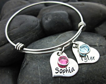 Mother's Bracelet - Mommy Jewelry - Gift for Mom - Mother's Day - Mommy - Birthstone Jewelry - Names - Birthstone Bracelet - Personalized