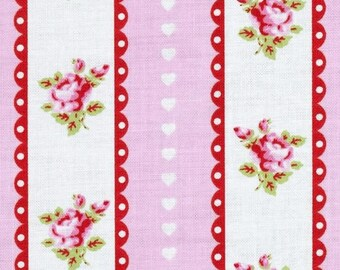 END OF BOLT - 2.5 Yards - Valentine Rose - Valentine Ticking Pink by Tanya Whelan for Free Spirit Fabrics -Shabby Chic Fabric  -Tanya Whelan