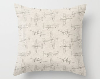 Airplane Pillow Cover Gray Pillow Throw Pillow Decorative Pillow Size Choice