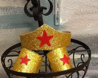 In Stock Wonder Woman Costume Tiara & cuffs, Wonder Woman Birthday, Wonder Woman Comic Con, Wonder Woman Party Favors, wonder woman tiara