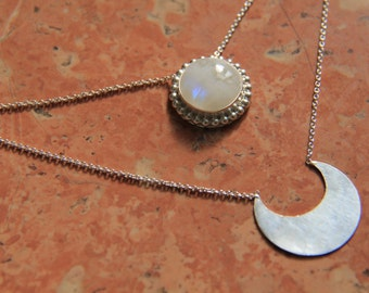 Akashi Moonstone Necklace; Moonstone necklace, moon necklace, Layered necklace, Sterling silver necklace, bohemian moon necklace, festival
