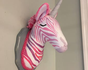 Zebra head faux unicorn zebracorn taxidermy zebra wall mounted zebra pink zebra