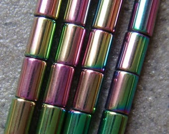10 beads Hematite Tube 5 X 3 MM multicolor Rainbow.