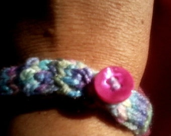 Fiber Jewelry Knitted Bracelet Monet's Garden colors with Button