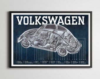 "1950-52 Volkswagen Beetle Full-Size POSTER! - 24"" x 36"" - Split Window - VW Bug - Vintage Cars - Custom Prints - Various Sizes - Blueprint"
