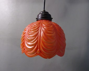 Orange glass pendant lamp lampshade-Early 1900
