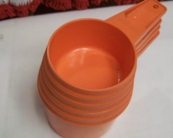 Vintage, Tupperware, Measuring Cups, Nesting Measuring Cups, Set, Burnt Orange, Nesting, Cups 5 Pc Set