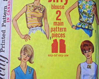 Vintage Simplicity pattern Jiffy blouse size 16 miss size 36 bust 1965
