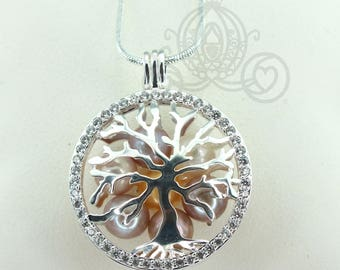 Family Tree Pearl Cage Necklace Crystal Accents Bright Silver Plated Locket Charm Tree of Life Mother Bead Cage