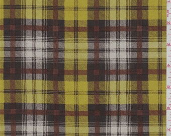 Mocha/Gold Plaid Crepe de Chine, Fabric By The Yard