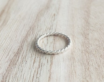 Twisted band, stacker, stacking ring, stackable ring, stackable, sterling silver, sterling silver ring, silver ring