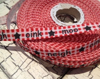 """3/8"""" Animal Farm Sounds Moo Neigh grosgrain ribbon sold by the yard"""