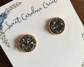 Round Stud Earrings. Rose Gold Plated, 12mm round.
