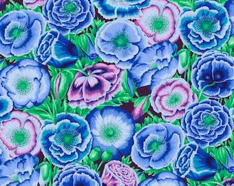 Kaffe Fassett Poppy Garden Blue Phillip Jacobs Freespirit Fabric