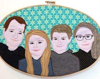 custom portrait family portrait personalized portrait in embroidery hoop friends couples families