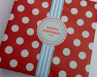 Happy Birthday Labels in Blue and Red