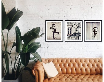Set of 3 prints Fine art photography Neutral home decor Street drawings Wall art set Urban street art Black and White art prints Romantic