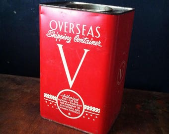 Vintage 1940s Red WWII Victory Tin Litho Overseas Shipping Container