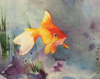 Goldfish Art,  Watercolor Fish painting, Animal Art, Wall Decor, Pet Art, Orange and Blue Color scheme