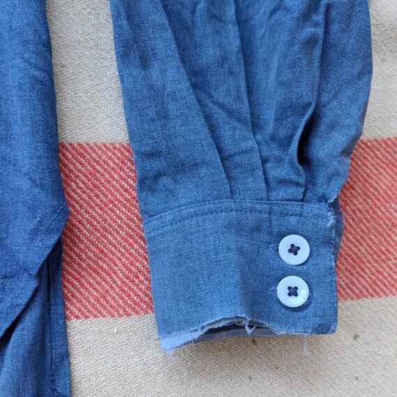 1930's 1930s Shirt L Workwear Blue Pullover Indigo Sleeve Work Small Medium Large M Denim 30's Collared S Vintage 30s Long Popover Farmer zwXzrEWqn