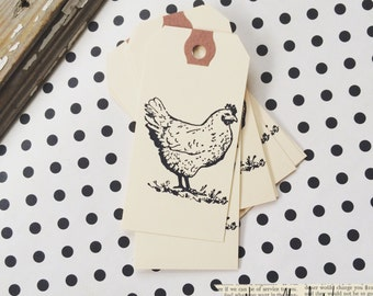 Chicken Gift Tags - Chicken Party Tag - Chicken Gift Tag - Happy Chicken - Farm Fresh Eggs - Hand stamped Tag - Egg Carton tag-Farmhouse tag