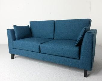 Modern Dollhouse Miniature Teal Sofa Couch 1:12 Scale