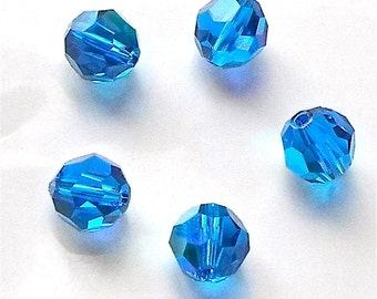 5 x Stunning Swarovski Crystal Blue 5000 Faceted Round Beads Size 8mm Crystal AB
