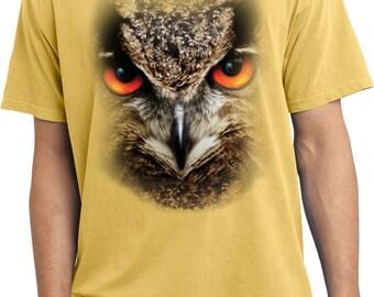 Men's Funny Shirt Big Owl Face Pigment Dyed Tee T-Shirt 17701D0-PC099