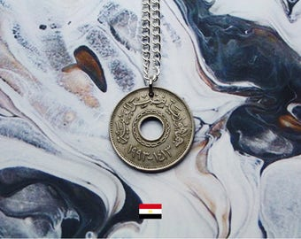 Egyptian 25 Piastres Handmade Silver Coin Necklace - Silver Plated Chain.