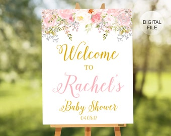 Gold Welcome Baby Shower Sign - Baby Shower Decoration -  Boy or Girl Custom Colors - Printable Sign - Girl Baby Shower