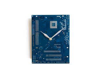 Dark Blue Wall Clock - Circuit Board Clock with Silver Clock Hands - Computer Clock - Unique Wall Clock - Unique Gift - Geek Gift