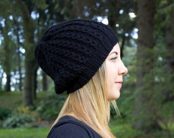 Black Slouchy Knit Hat - Black Vegan Hat - Boho Hat - Hipster Hat - Hippie Hat - Womens Tam - Mens Beanie - Handknit - Gift for Her