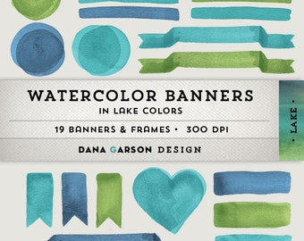 Watercolor Digital Banners, Frames & Flags for blog graphics, scrapbooking, digital collage, clip art ClipArt, printable, commercial use