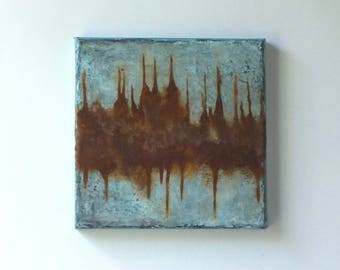 Rust and blue original abstract ready to hang painting Wabi-sabi beautiful decay real rust mixed media