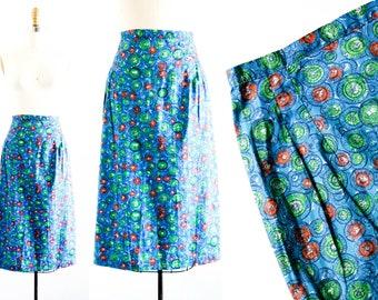 Vintage 1950s skirt . View from the Ferris Wheel . blue pencil skirt . 50s / 60s print skirt . md
