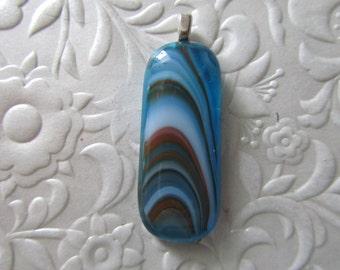 "Fused Glass Pendant - Fused Glass Jewelry - Fused Art Glass - Swirls - Measures 1.75"" x .05"""