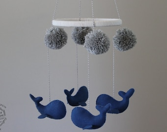 Baby Mobile, Whale Mobile, Hanging Baby Mobile Nursery Decor-Customized