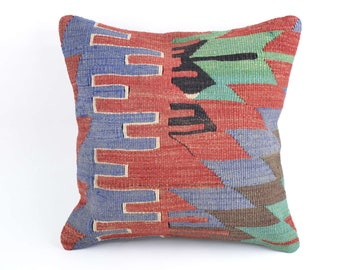 Turkish KILIM PILLOW COVER, Hand Woven 16 x 16, Vintage, Pillow sham - C10785