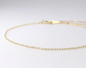 14K Solid Gold Delicate Bracelet, 14K Dainty Chain Bracelet, 14K Thin Gold Chain Bracelet, 14K Layering Bracelet, 14K Minimalist Bracelet