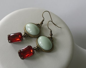 SALE Ready TO SHIP Mint green and red antique bronze vintage style bridal party earrings