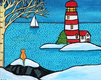 orange Tabby Cat winter snow ocean lighthouse  Shelagh Duffett -  Print
