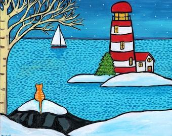 Orange Tabby Cat Winter Schnee Ozean Leuchtturm Shelagh Duffett - Druck