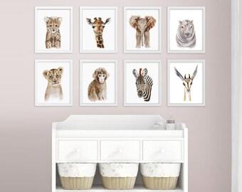 Baby Animal Prints, Safari Nursery Print Set, Animal Art, Safari Animal, Nursery Prints, Baby Animal Print Set, Elephant, Hippo, Giraffe