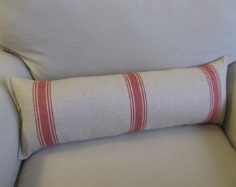 FRENCH LAUNDRY Linen/Cotton 9x25 Bolster/lumbar pillow in red stripes