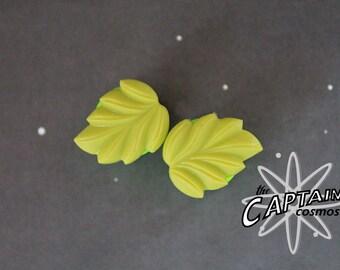 """Leaf plugs for gauged ears 12mm 1/2"""" green  gauges bodmod"""