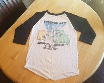 Rare Authentic Summer Jam 1982 Concert Shirt Raglan/ Baseball/ Jersey Size Medium to Small  Original Rock Collectable / Foreigner / Loverboy